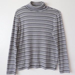 Vintage Striped Turtle Neck Long Sleeve Shirt